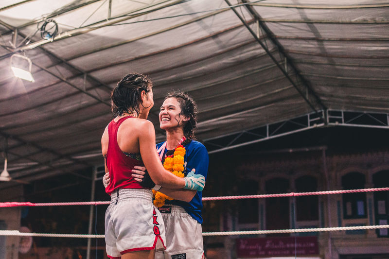 The greatest victories are those of the heart and those that are shared. International Women's Day 2019 Real People Two People Lifestyles Women Young Adult People Sport Togetherness Young Women Good Sportsmanship Embrace Friendship Love Sportswoman Muay Thai Sports Respect Happiness Joy Victory