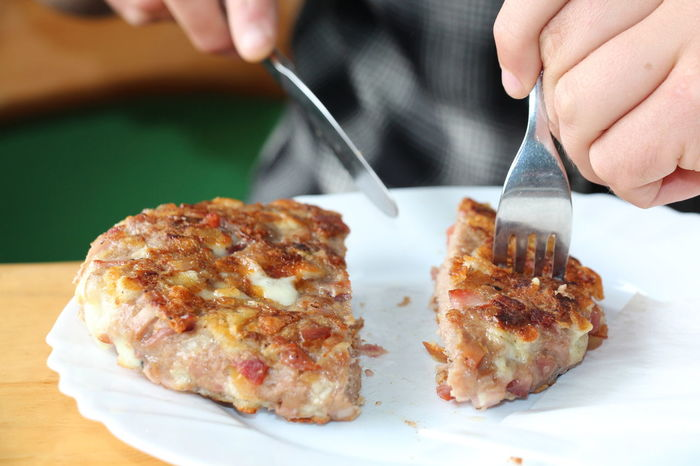 Cheese Day Food Ham Human Hand One Person Plate Pleskavica Real People Serving Size Syrbija Table