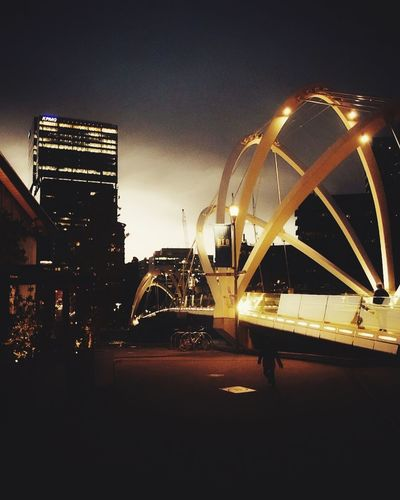 South Wharf Melbourne Melbourne City Bridge Night Illuminated Outdoors People Lights City Life Nightlife Urban Skyline Building Exterior Downtown District Architecture