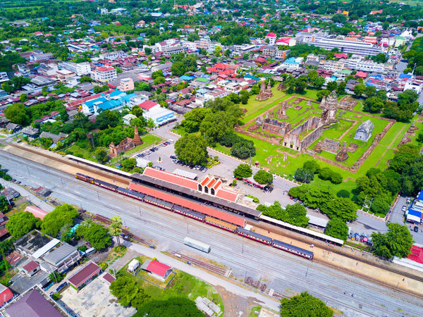 Lop bu ri Train station Bird Eye View Drone  Aerial View Ancient Architecture Architecture Building Building Exterior Built Structure City Cityscape Day Drone Photography Droneshot High Angle View Landmark Building Lopburi Mode Of Transportation Outdoors Railway Station Road Street Train Train Station Transportation Wat Thai
