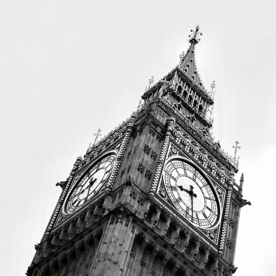 Big Ben Time Tourism Parliament Iconic Big Ben England, UK London Architecture Low Angle View Built Structure Building Exterior Travel Destinations Day Sky Travel History Clock Tower Clock No People