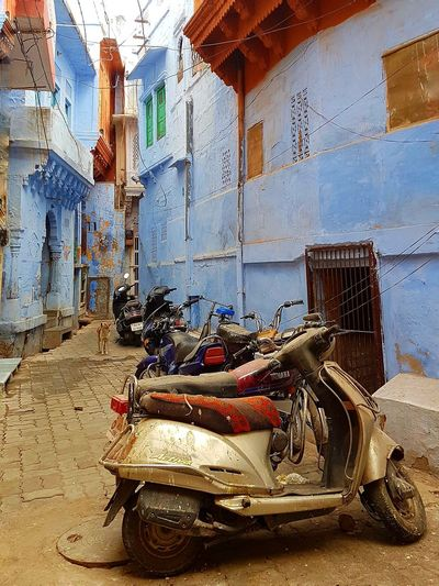 A lane at the Blue City, India Motorcycles Travel Amazing Destination Tourist Destination Travel Photography India Morning Holiday EyeEm Beautiful Vacation In India Blue City Jodhpur Blue City Blue