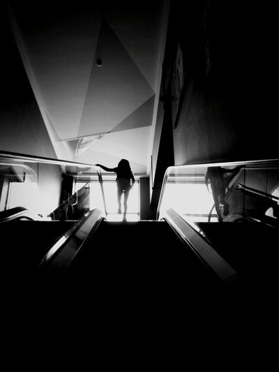 Explore! Silhouette Blackandwhite Black And White Black & White Explore Stairs Going Up Reflection Walking Travel Alone Exploring Full Length Outline