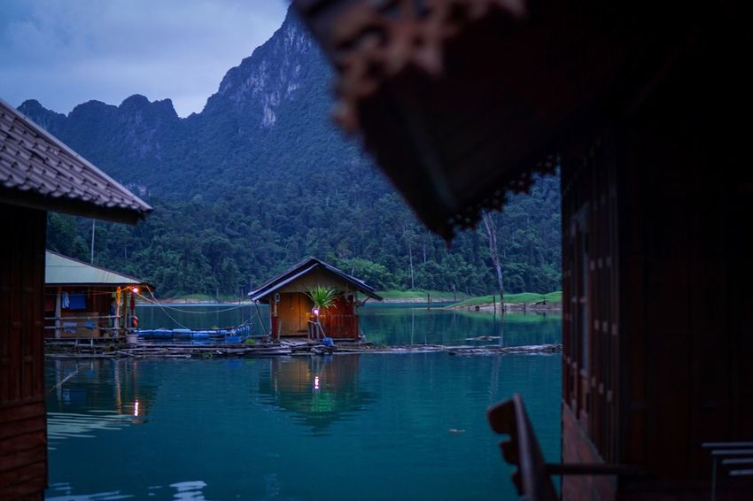 Floating bungalow in national park House Water Outdoors Nature Lake No People Scenics Beauty In Nature Tranquility