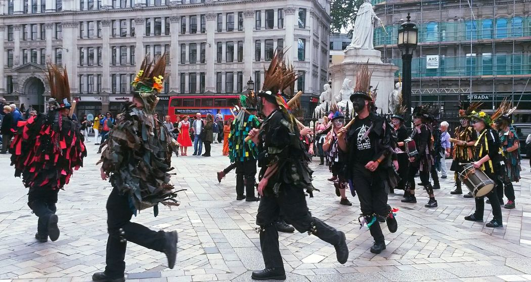 Celebration Adult City Large Group Of People People Men Adults Only Morris Dancers Morris Dancing Englishness British Culture Tradition Performance Group Fun Painted Faces Summer2015 St.Pauls Cathedral St.Pauls Square, London Colour Red Double Decker Bus TCPM Break The Mold