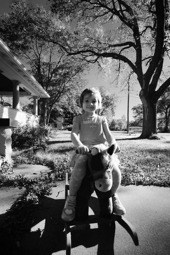 Portrait Of Girl On A Rocking Horse