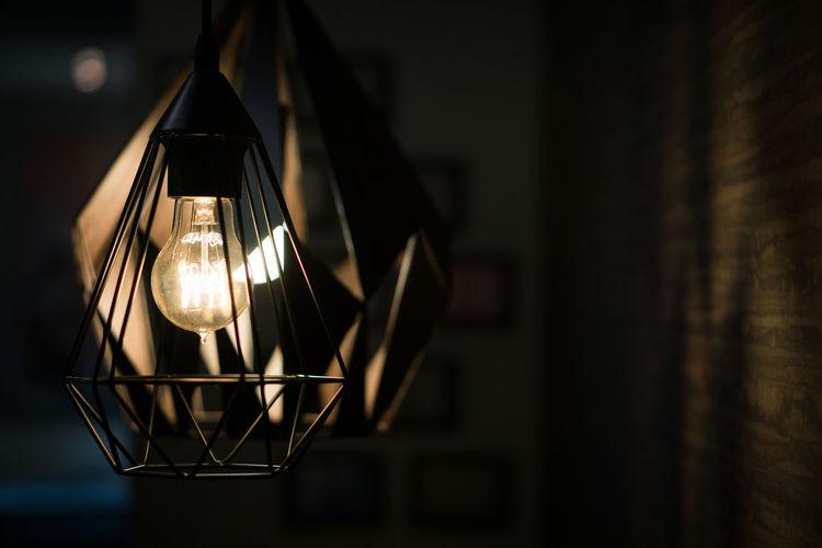 Close-up Electricity  Filament Focus On Foreground Hanging Illuminated Indoors  Light Bulb Lighting Equipment Modern Decoration Modern Design No People Scandinavian Style Wooden Light