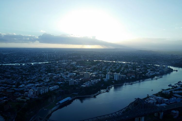 Dawn Victoria Bridge Travel Photography Brisbane City Building Exterior Architecture Cityscape City Built Structure Building Sky High Angle View Water Aerial View Skyscraper