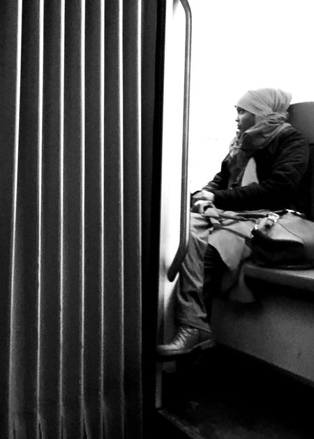 Just dreaming Bnw_captures Bnw Streetphotography One Person Sitting Real People Indoors  Day People Adult
