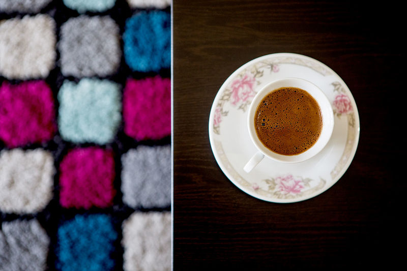 Beverage Modern Morning Cafeteria Carpet Coffee Coffee - Drink Coffee Cup Colorful Cup Design Directly Above Drink Enticing Food And Drink Indoors  Interior Design Morning Rituals Mug Refreshment Still Life Table Temptation Warm Welcoming