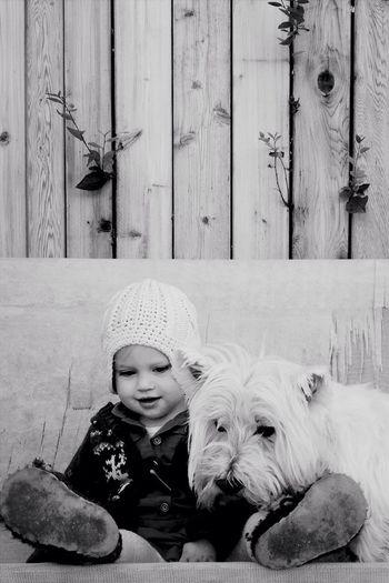 best friends IPhoneography Blackandwhite Westie Children