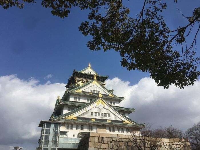 Osaka Castle Architecture Branch Building Exterior Built Structure Clock Cloud - Sky Day Low Angle View No People Outdoors Place Of Worship Religion Sky Spirituality Travel Destinations Tree