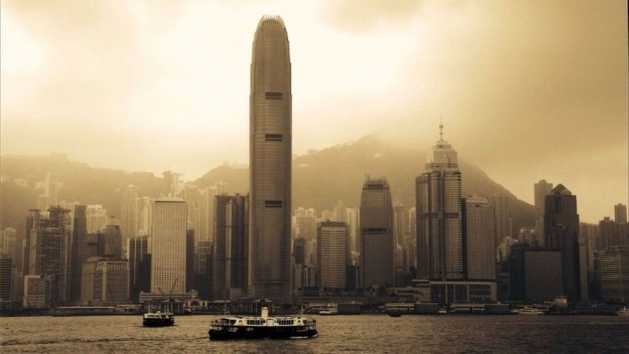 2 International Finance Centre In Front Of Kowloon Bay Against Sky