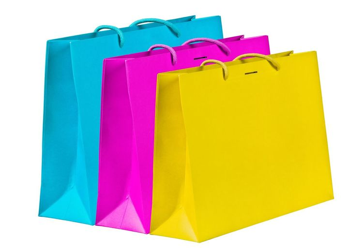 Shopping bags Retail  Purchases Shopping Bags Object Different Azure Blue Pink Yellow Colorful Colors Paper Three Group Store Concept Bags Shopping ♡ Cut Out White Background Paper Multi Colored Pink Color No People Gift