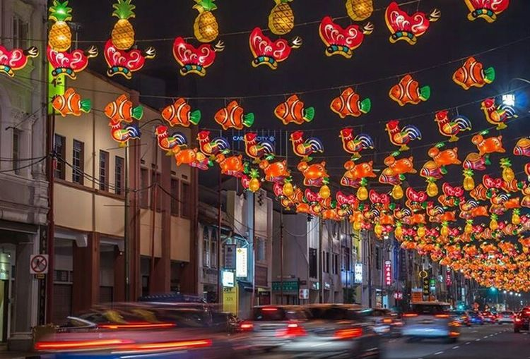 Midautumnfestival Lanterns Chinatown Night Singapore Traillights