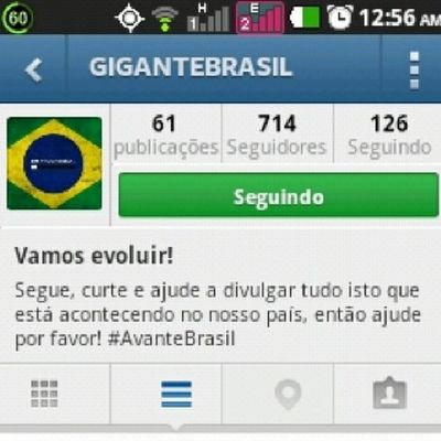 Gente sigam o @gigantebrasil... Followforfollow Followback Instagam Printscreen