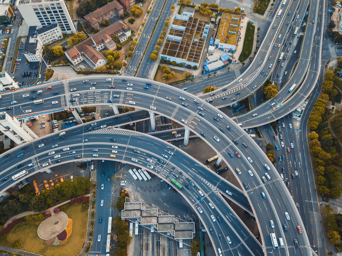 High angle view of traffic on elevated road in city