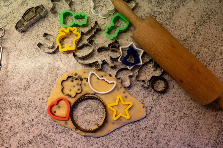 High angle view of toy on sand