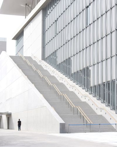 Man walking on modern office building