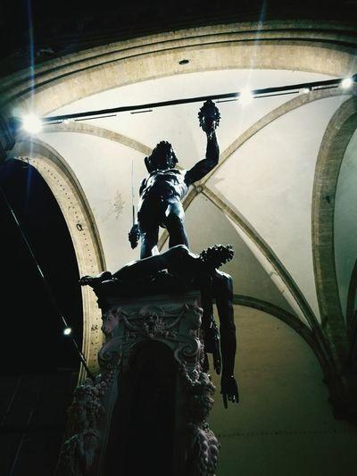 Night Architecture Florence Italy Statue Historical City Signoria's Square Perseoconlatestadimedusa Loggiadeilanzi Bestcity Light