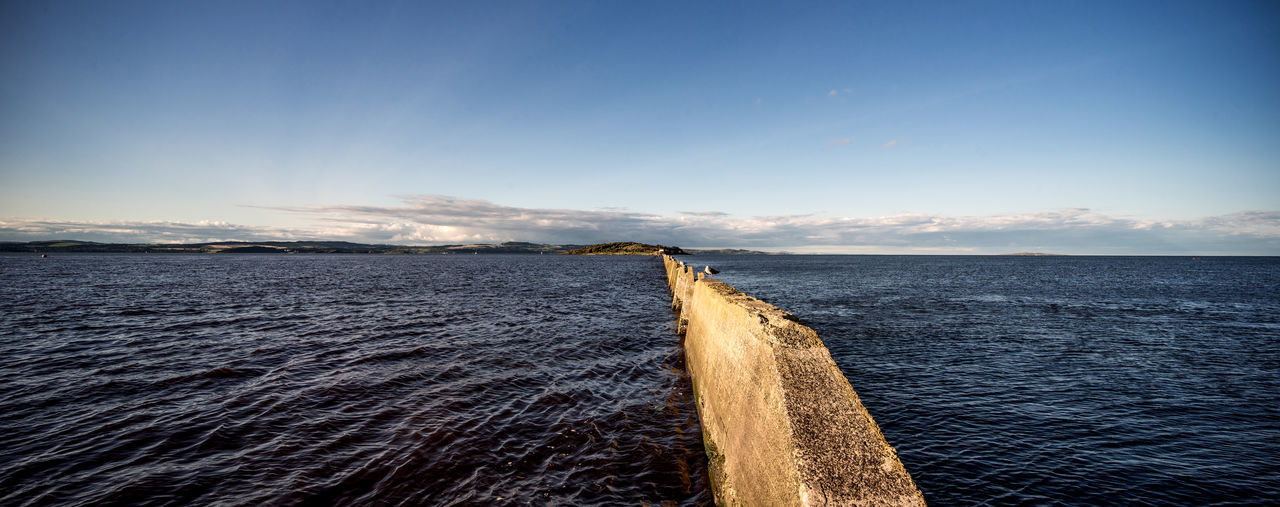 High tide at Cramond Causeway, Scotland Cramond Cramond Island Firth Of Forth Nature Panorama Scotland Sealife Travel Blue Causeway Flood Landscape Nature No People Ocean Outdoors Sea Seascape Sky Tourism Tranquility Water