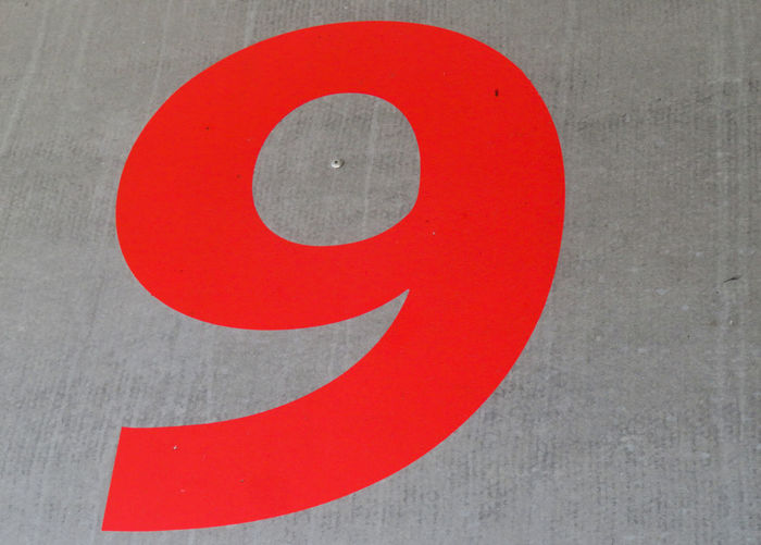 Number 9 Red Gray Close-up