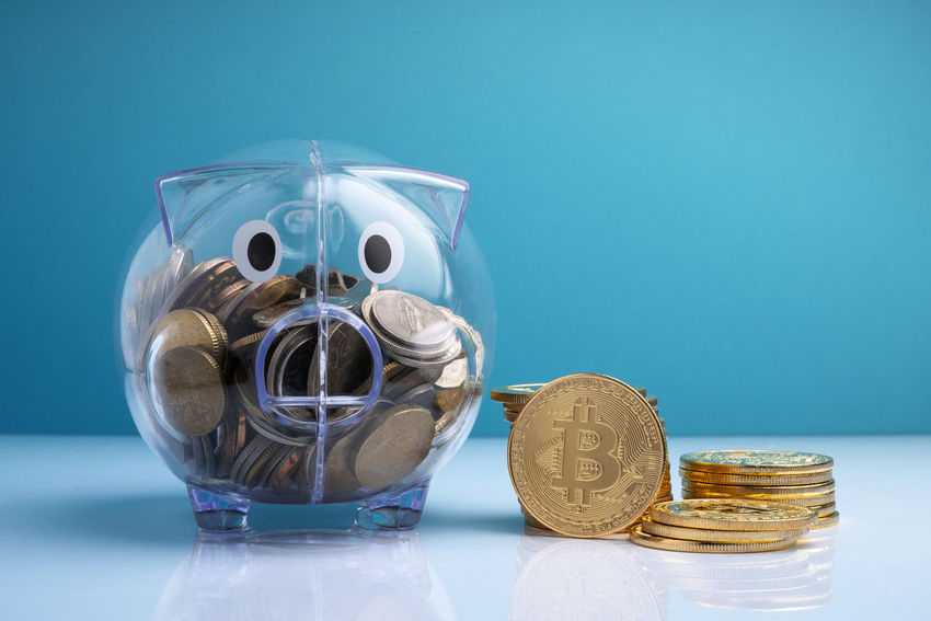 Budget Currency Cyptocurrency Economy Loan  Piggy Bank Rate Rich Stack Bank Bitcoin Cash Coin Crypto Digital Earn Finance Financial Fund Income Invest Investment Piggy Saving Wealth