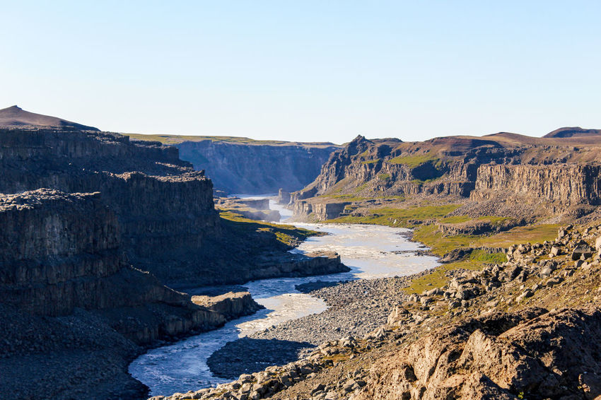 Icleand Beauty In Nature Canyon Clear Sky Day Dettifoss Environment Flowing Formation Iceland_collection Idyllic Mountain Nature Non-urban Scene Power In Nature River Rock Scenics - Nature Sky Solid Sunlight Tranquil Scene Tranquility Water