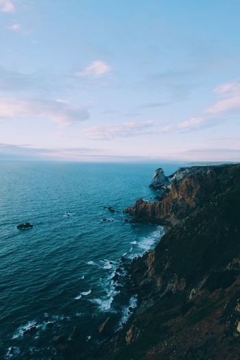 Portugal Sunset_collection Beauty In Nature Cliff Day Horizon Over Water Idyllic Nature No People Outdoors Scenics Sea Sea And Sky Sky Sunset Tranquil Scene Tranquility Water Perspectives On Nature Go Higher
