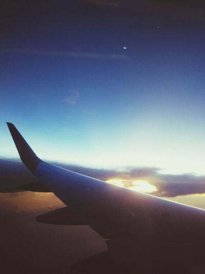 Once upon a time when the moon meet the sun. Sunset Plane Flight ✈ Throwback First Eyeem Photo Moon
