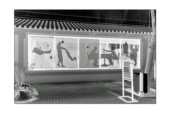 Window Display Art 3 Silhouettes Figures Jack London Square Store Front Windows Monochrome Photograhy Monochrome Art Urban Life Urban Photography Street Life Lifestyles Enjoying Life Sidewalks Building Awning Reflections In The Windows Illuminated Black & White Black & White Photography Black And White Collection  Black And White Flower Planter Façade Sign