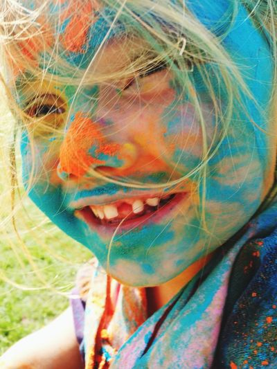 One Person Headshot Portrait Holi Smiling Childhood Multi Colored Missing Tooth The Week On EyeEm