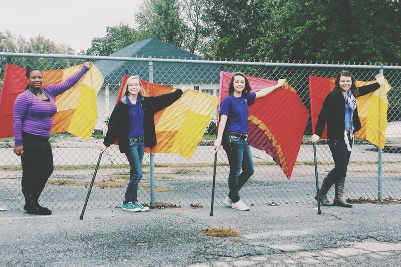 These 3 girls have become my sisters. They are the ones I tell everything to, the ones I can be goofy with, and the people I trust with anything. Color guard is more than a sport, it's family. 💪💞 Colorguard Marching Band Sisters Friends Love