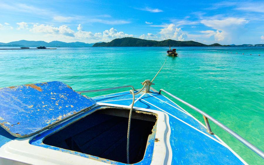 Boat Coral Island,Thailand Floating On Water Kho Hey Landscape Mode Of Transport Nautical Vessel Park Phuket Rippled Sailboat Sailing Sky Speedboat Thailand Transportation