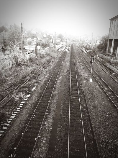 Railroad Track Outdoors No People Day Sky City Railroad Station Blackandwhite Blackandwhite Photography From My Point Of View EyeEm Gallery Rail Network Rails Transportation Railroad Tie The Way Forward