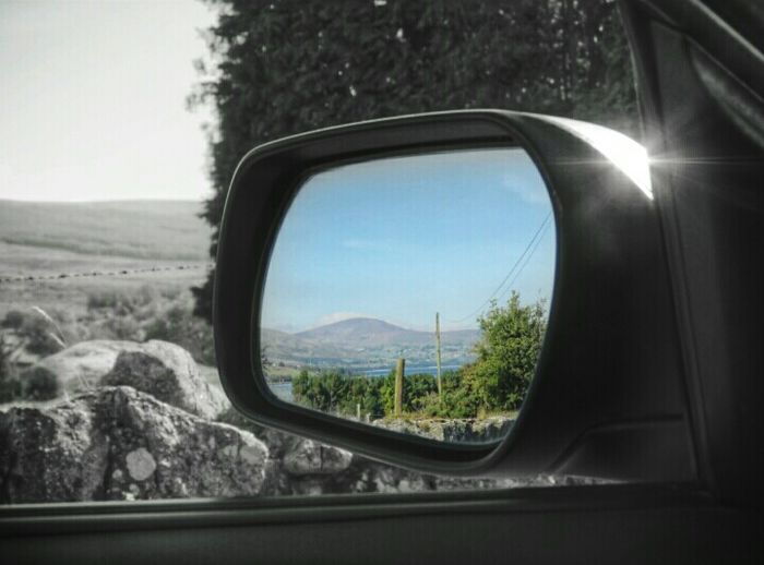 The view👌😊 Taking Photos Check This Out From My Point Of View Ireland🍀 Outdoors Bnw Splash Rural Scene Road Trip Sky Mountain The Places I've Been Beauty In Nature Looking In The Mirror Landscape Looking Through Window Eyeem2017 Enjoying The View Light And Shadow Wicklow Ancient History Trees And Leaves Enjoying Life