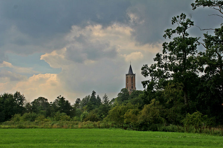 Amerongen Andrieskerk Architecture Beauty In Nature Building Exterior Built Structure Cloud - Sky Day Field Grass Green Color Growth Landscape Nature No People Outdoors Scenics Sky Tranquil Scene Tranquility Tree