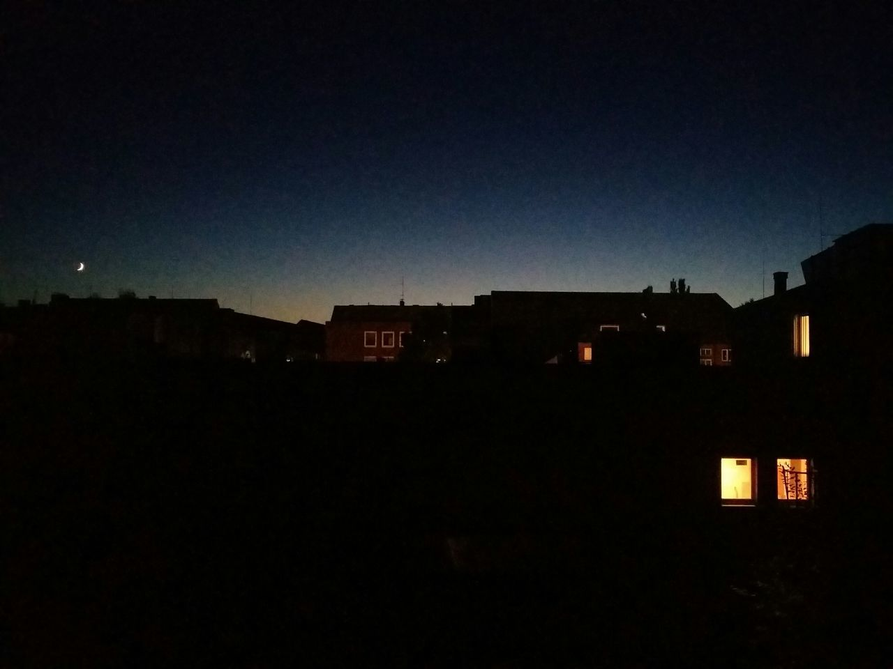 silhouette, dark, architecture, night, clear sky, no people, moon, illuminated, building exterior, sky, outdoors, city, nature, cityscape