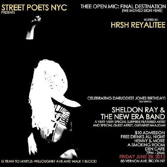 JUNE 28TH IS @DARUDDEST_JONES / DARUDDESTJONES Birthday AAANNNNDDDDDDD THE STREETPOETSNYC Openmic . IT'S THE BEST OPEN MIC IN NYC. 18+ FOR ENTRY 21+ TO DRINK $10 ALLLLLLLL NIGHT SMOKING SECTION FREE DRINKS ALL NIGHT FISH SANDWICHES AND FRIES COME PARTY AND BULLSHIT WITH SOME OF NEW YORKS DOPEST TALENTS. TURN UP AND DON'T YOU DARE TURN DOWN. NEW VENUE MORE SPACE SAME TEAM SAME LOVE 80 VERNON AVE, BK NY BROOKLYN AS USUAL! POETRY ART RTV RUDETEEVEE SINGERS RAPPERS POETS ARTIST BROOKLYN NYC NYCOPENMIC Email for more info: DaRuddestJones@streetpoetsnyc.com