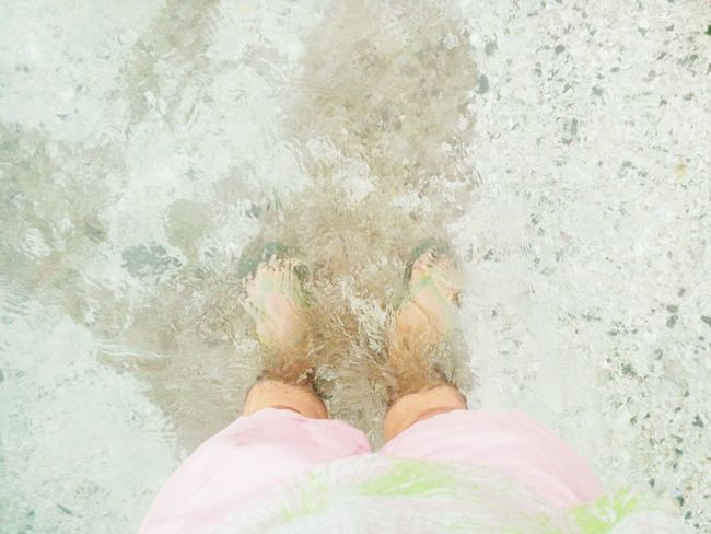 One with the sea. One Person Standing Low Section Human Leg Personal Perspective Human Body Part Sand Real People Day People Leisure Activity Close-up Outdoors Water Adult Sea Beach Beachphotography Beach Photography Beach Walk Pink Green Pink And Green