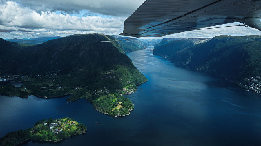 Taken from a seaplane in June 2018. Bergen,Norway Norway The Traveler - 2018 EyeEm Awards Beauty In Nature Cloud - Sky Day Environment Mountain Nature No People Non-urban Scene Outdoors River Scenics - Nature Sky Tranquil Scene Tranquility Transportation Travel Water