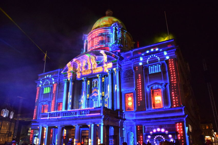 """""""In With A Bang"""", Hull - UK City of Culture 1st January 2017 Amusement Park Amusement Park Ride Architecture Arts Culture And Entertainment Building Exterior Built Structure City Galaxy Hull Hull 2017 Hull City Hall Hull City Of Culture 2017 Hull2017 Illuminated Low Angle View Night Nightlife No People Outdoors Sky Travel Destinations"""