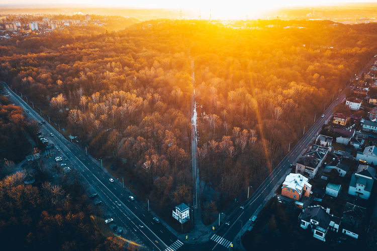 Park, winter sunset, drone aerial view Backlight City Drone  Winter Aerial View Architecture Built Structure City Cityscape Day Dji High Angle View Landscape Mavic Mavic Pro Mountain Nature No People Outdoors Park Road Sky Sunset Tree Winter Sunset