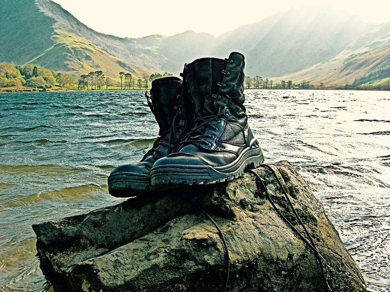 Monument To The Weary Beauty In Nature Calm Calmness Day Mountain Nature No People Outdoors Scenics TCPM Tranquil Scene Tranquility Walking Boots Water Lost In The Landscape Lost In The Landscape