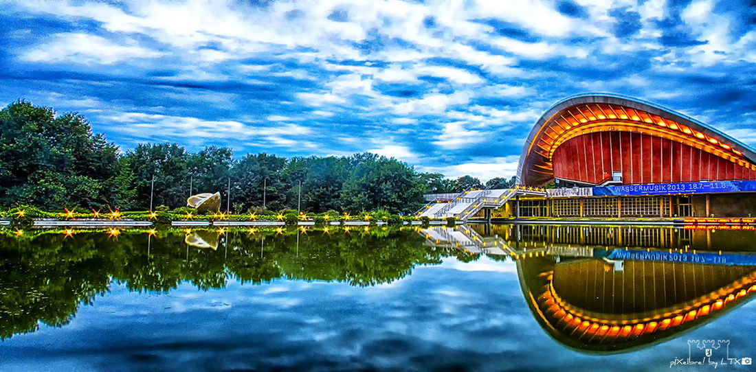 The Fable of the Oyster and the Butterfly (Reflections of an Oyster 2.0 Remix) Berlin Reflection Water Reflections Tiergarten Clouds And Sky Panorama HDR Daylight Berliner Ansichten Schwangere Auster