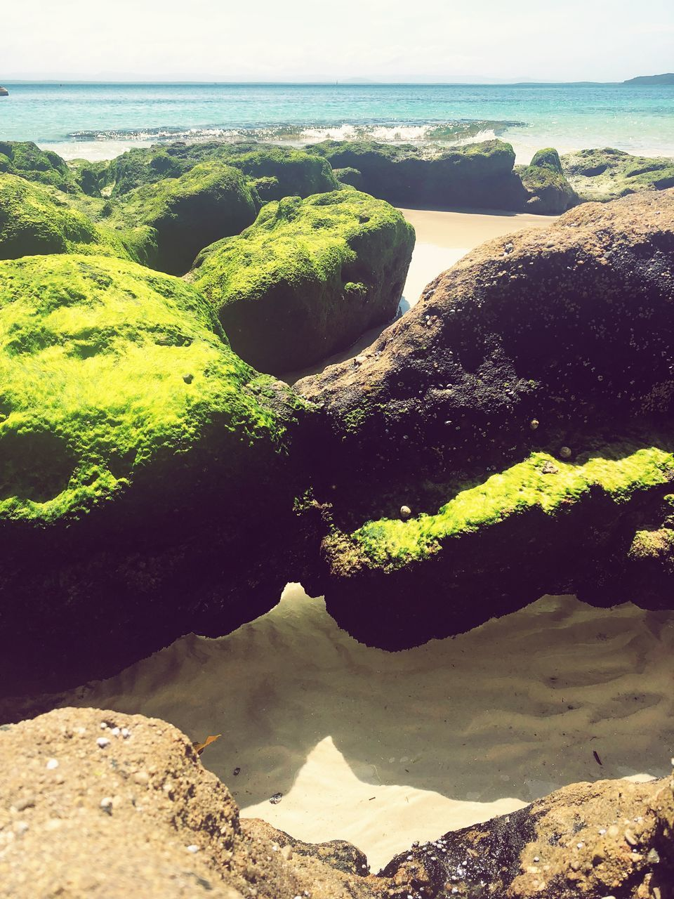 water, sea, rock, beach, nature, land, day, solid, tranquility, scenics - nature, rock - object, no people, beauty in nature, tranquil scene, sky, horizon, moss, horizon over water, sunlight, outdoors
