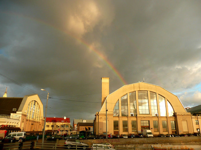 Riga market wagon vault Building Exterior Architecture Cloud - Sky Built Structure Sky Rainbow City Building Nature Transportation Mode Of Transportation No People Motor Vehicle Car Residential District Street Arch Day Outdoors Tirgus Riga Market Riga Old Town Riga Latvia