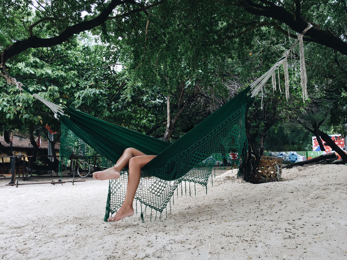 Woman sitting on beach against trees
