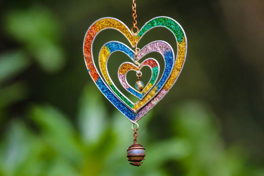 Art And Craft Close-up Craft Creativity Day Decoration Design Emotion Focus On Foreground Green Color Hanging Heart Shape Love Multi Colored Nature No People Outdoors Positive Emotion Shape Valentine's Day - Holiday