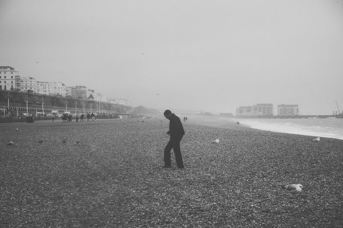 Loneliness. Beach Beautiful Black & White Blackandwhite Lonely Lonely Man Person Sea Shore Tranquil Scene Water Waterfront